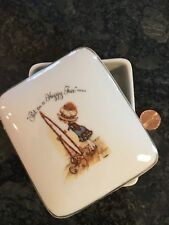 Vintage Holly Hobbie Ceramic Covered Trinket Dish Put on Happy Face 1973