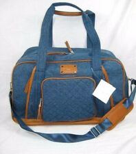 Adrienne Vittadini Sport Blue Brown Quilted  Duffle Bag Large Travel Gym $360