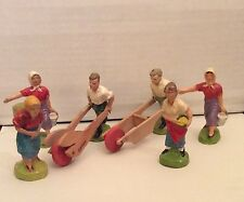 VINTAGE PREWAR GERMANY GERMAN COMPOSITION ELASTOLIN FARM FIGURES LOT OF SIX