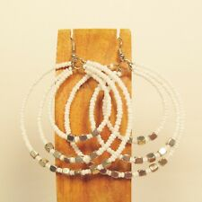 "2"" Bright White Color Triple Hoop Bohemian Bling Handmade Bali Seed Bead Earring"