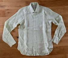 Orlebar Brown Giles Tailored Long Sleeve Spring Green Linen Shirt Size M New