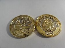 CHALLENGE COIN UNITED STATES NAVY WE OWN THE SEAS GOLD COLOR REAL NICE