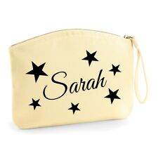 Personalised Wristlet Make Up Wash Bag Toiletry Canvas Birthday Christmas Stars