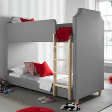 Lily Fabric Bunk Bed Solid Wood Grey 3ft Single Bedroom 2x Mattress