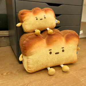 Cute Toast Sliced Bread Pillow Plush Toy Soft Cushion Office Home Decoration