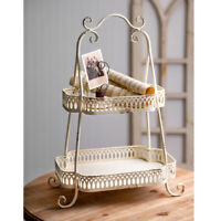 VINTAGE STYLE ANTIQUED METAL TWO TIER CHANTILLY TRAY BY CTW 790093