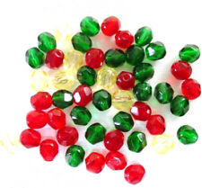 50 Jewel Mix Faceted Fire Polished Czech Glass Round Beads 6MM