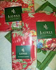 """Nip Ralph Lauren Beach House Fushia 4Pc Queen 14"""" Fitted Sheet Set Floral Rare"""