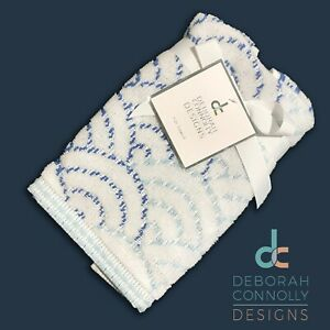 New - DEBORAH CONNOLLY - Tip Towel (1) Soft Seashells Scales Pattern White Blues