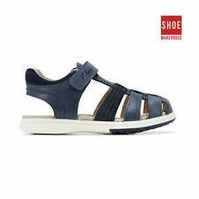 Clarks KYLE Navy Boys Cage Toe Fashion Leather Sandals