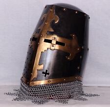 18ga Medieval Battle Top Knight Great Helmet With Chain Mail Brass Templar Cross