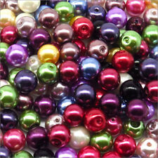 Lot Mix 100 Beads Pearly glass 8mm Mix of colors