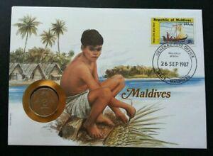 [SJ] Maldives Islands & Beaches 1987 Sailboat Art Craft Culture FDC (coin cover)
