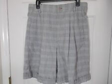 Casablanca Vintage Fine Check Plaid Cuffed Pleats Walking Shorts Size 12