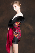Women 100% Wool Pashmina with A complete  Fox Fur trim the Cape Soft Warm Red