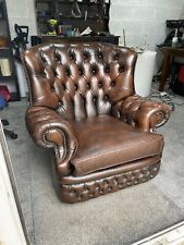 Brown Leather Chesterfield Wingback Monks Chair WE DELIVER UK