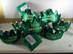 St. Patrick's Day Party Pack LIGHT UP FLASHING CROWNS LOT **NEW ** 9 PIECES