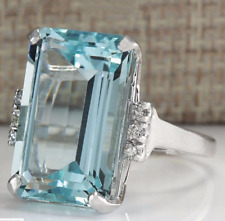 Transparent Sea Blue 14.32CT Aquamarine With White CZ Party Fashion Women's Ring