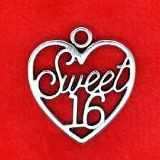 3 x tibetan silver Sweet 16 seize amour coeur pendentif perles de charme