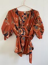 Orange Floral Top With Removeable Tie River Island Size 14