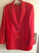 Ladies' chic red blazer style velvet panel jacket Size L/14-16 by Barry Sherrard