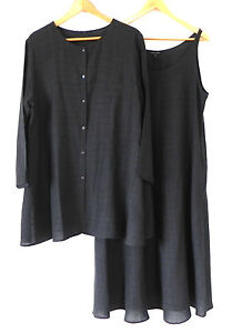 Eileen Fisher 2pc Duster/ Sleeveless Dress Linen Blend Charcoal Size L