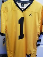 New Michigan Wolverines #1 Jordan Dri Fit Football Jersey Men's Medium Free Ship