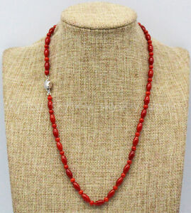 Beautiful 4mm & 5x9mm Natural Red Coral Round / Rice Gemstone Necklaces 14-36''