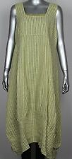Plus Size Ladies Stripe Design Italian Lagenlook Quirky Long Pocket Linen Dress