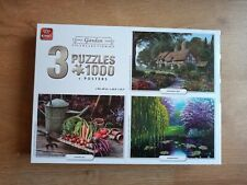 GARDEN COLLECTION - 3 X 1000 PIECE JIGSAW PUZZLES - BY KING - INCLUDES 3 POSTERS