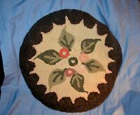 """Vintage Hand Hooked Round Seat Cover 15"""" Floral Leaves"""