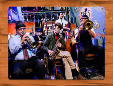 "TIN-UPS TIN SIGN ""Jazz Band At The Spotted Cat"" New Orleans Art Wall Decor"