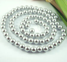 *84pcs Beads-10mm Light Grey/Silver Imitation Acrylic Loose Round Pearl Spacer