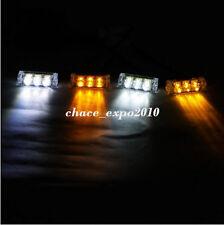 4X 3LED AMBER WHITE CAR POLICE STROBE FLASH LIGHT EMERGENCY 3 FLASHING MODE 12V