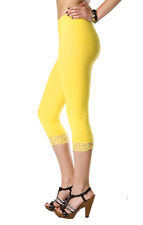 Cropped Leggings with Lace Cotton 3/4 Length Summer Colours & Sizes High Quality