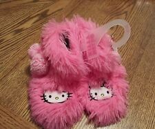 GIRLS HELLO KITTY PINK  FUZZY BOOT SLIPPERS SIZE 11/12.