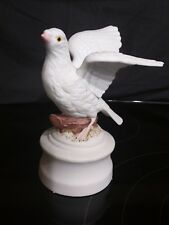 """Vintage Inarco Japan Ceramic Dove bird music box sings First Day Of Christmas 6"""""""