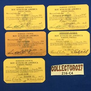 Boy Scout 1930's 5 Rank Cards From Norfolk & Tidewater Council Virginia Kenwood