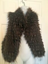 NWT Gorgeous Raccon and Leather Vest, Size Large, Orig. $220