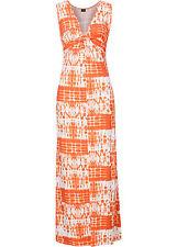 Sommerliches Maxikleid in Batik Orange / Wollweiß - Gr. 32 / 34 - Q1429 - 924334
