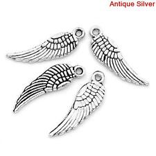 50 x Angel Wing Charm/Pendant antique silver tone Craft Making