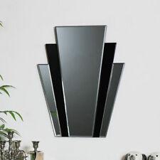 Black glass panelled retro art deco wall mirror vintage living room hall display