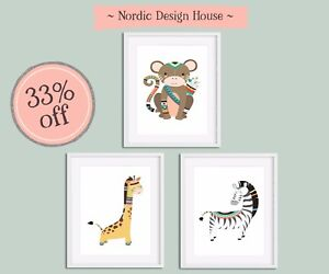 Set of 3 Tribal Jungle Friends Prints for child's room or nursery unisex