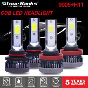 4x Mini 9005 +H11 LED Headlight Kit Combo Total 220W 44000LM High Low Beam 6000K