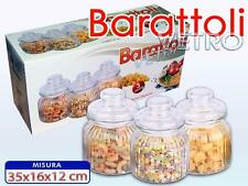 Set 3 Tris Barattoli Con Coperchio In Vetro 15x11cm Cucina Pasta Biscotti moc