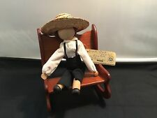 Vintage Amish Folk Wood Male  Doll  by Eva Brother (in Rocking Chair)