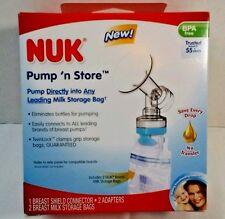 Nuk  Pump'n Store   BPA free  Breast Shield Adapter and 2 collection bags  New