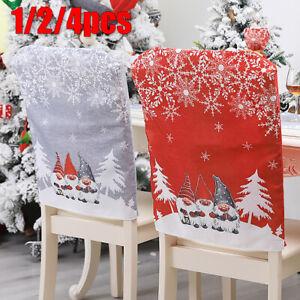 1/2/4 PCS Christmas Snowflake Chair Covers Xmas Claus Chair Cap Seat Back L 6