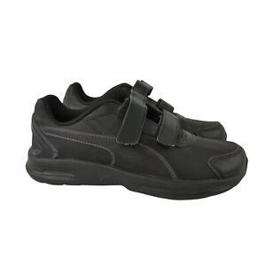Puma Shoes School Trainers Black Leather Boys Size UK 2 EUR 34.5 - NEW