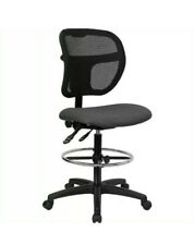 Flash Furniture Mid-Back Mesh Drafting Stool with Foot Rest- Gray Fabric Seat